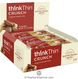 ThinkThin Kosher Crunch Bar Original Mixed Nuts Dairy 10 Bars