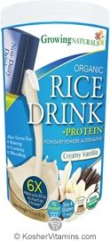 Growing Naturals Kosher Organic Rice Drink + Protein Powder Creamy Vanilla 15.2 OZ