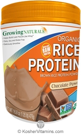 Growing Naturals Kosher Organic Whole Grain Brown Rice Protein Isolate Powder Chocolate Power 16.8 OZ