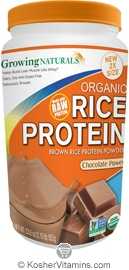 Growing Naturals Kosher Organic Whole Grain Brown Rice Protein Isolate Powder Chocolate Power 33.6 OZ