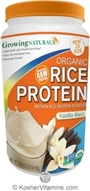 Growing Naturals Kosher Organic Whole Grain Brown Rice Protein Isolate Powder Vanilla Blast 32.8  OZ