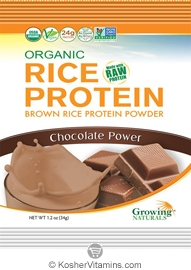 Growing Naturals Kosher Organic Whole Grain Brown Rice Protein Isolate Powder Chocolate Power 12 Packets