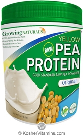 Growing Naturals Kosher Raw Yellow Pea Protein Powder Original Flavor 16 OZ
