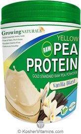 Growing Naturals Kosher Raw Yellow Pea Protein Powder Vanilla Blast 16.7 OZ