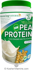 Growing Naturals Kosher Raw Yellow Pea Protein Powder Original Flavor 32  OZ