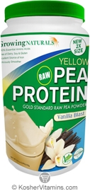 Growing Naturals Kosher Raw Yellow Pea Protein Powder Vanilla Blast 33.4 OZ