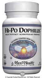 Maxi Health Kosher Hi-Po Dophilus High Potency Acidophilus 120 MaxiCaps
