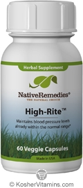 Native Remedies Kosher High-Rite Maintains Blood Pressure Levels within Normal Range 60 Vegetable Capsules