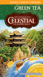 Celestial Seasonings Kosher Honey Lemon Ginseng Green Tea 20 Bags