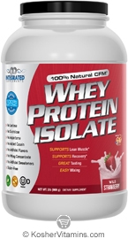 Integrated Supplements Kosher 100% Natural CFM Whey Protein Isolate Powder Wild Strawberry Dairy 2 LB