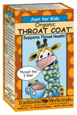Traditional Medicinals Kosher Just for Kids Organic Throat Coat 18 Tea Bags