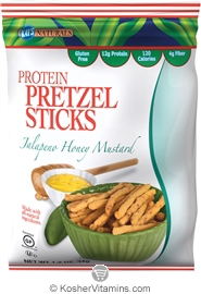 Kay's Naturals Kosher Protein Pretzel Sticks Jalapeno Honey Mustard Gluten Free Dairy Case of 6 1.2 OZ