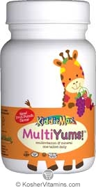 Maxi Health Kosher KiddieMax Multi Yums One Daily (Chewable Multi Viamin & Mineral) Fruit Punch Flavor 90 Chewables