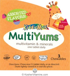 Maxi Health Kosher KiddieMax MultiYums (Multi Viamin & Mineral One Daily) Chewable Assorted Flavors - Free with a $49 Purchase 3 Chewables