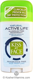 Kiss My Face Deodorant Active Life Stick Fragrance Free 2.48 OZ