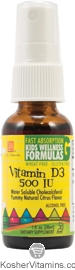 L.A. Naturals Kosher Vitamin D3 Spray 500 IU Kids Wellness Formula Alcohol Free Liquid Citrus Flavor 1 OZ