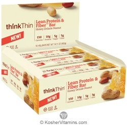 ThinkThin Kosher Lean Protein and Fiber Honey Drizzle Peanut 10 Bars
