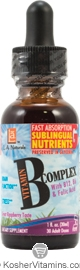 L.A. Naturals Kosher Vitamin B Complex Drops with B12, B6 & Folic Acid Liquid Raspberry Flavor 1 OZ