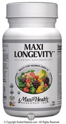 Maxi Health Kosher Maxi Longevity Multi Vitamin & Mineral for Women Over 50  120 MaxiCaps