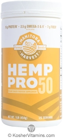 Manitoba Harvest Kosher Hemp Pro 50 Whole Food 50% Protein Powder 16 OZ