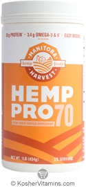Manitoba Harvest Kosher Hemp Pro 70 Water Soluble 70% Protein Concentrate 16 OZ
