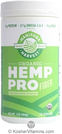 Manitoba Harvest Kosher Organic Hemp Pro Fiber Whole Food High Fiber Protein Powder 16 OZ