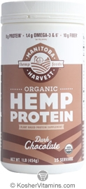 Manitoba Harvest Kosher Organic Hemp Protein Dark Chocolate 16 OZ