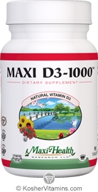 Maxi Health Kosher Vitamin D3 1000 IU 90 Tablets