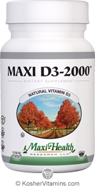 Maxi Health Kosher Vitamin D3 2000 IU 180 Tablets