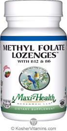 Maxi Health Kosher Methyl Folate Lozenges with B12 & B6 Berry Flavor 90 Lozenges