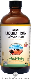 Maxi Health Kosher Maxi Extra Gentle Iron Concentrate Liquid Fruit Punch Flavor Sugar Free 8 OZ