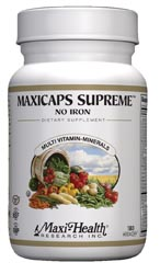 Maxi Health Kosher Maxicaps Supreme Iron Free 180 Vegicaps