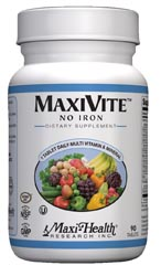 Maxi Health Kosher Maxivite One Daily Multi Vitamin & Mineral No Iron 90 Tablets