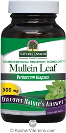 Natures Answer Kosher Mullein Leaf 500 Mg 90 Vegetarian Capsules