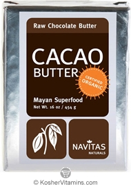 Navitas Naturals Kosher Cacao (Chocolate) Butter Raw Organic 16 OZ
