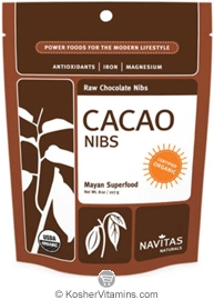 Navitas Naturals Kosher Cacao (Chocolate) Nibs Raw Organic 8 OZ