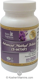 Nutri-Supreme Research Kosher Advanced Methyl Folate (5-MTHF) 1 Mg 60 Vegetarian Capsules