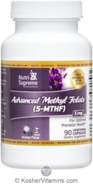 Nutri-Supreme Research Kosher Advanced Methyl Folate (5-MTHF) 1 Mg 90 Vegetarian Capsules