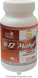 Nutri-Supreme Research Kosher B12 Methyl 1000 Mcg with B6 & Folic Acid Orange Flavor  100 Sublingual Lozenges
