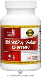 Nutri-Supreme Research Kosher B6, B12 & Folate (5-MTHF) 60 Vegetarian Capsules