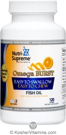 Nutri-Supreme Research Kosher Omega Burst Fish Oil EPA/DHA Chewable Orange Flavor 120 Softgels