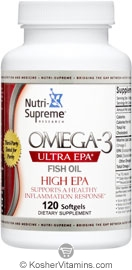 Nutri-Supreme Research Kosher Omega-3 Ultra EPA Fish Oil  BUY 1 GET 1 FREE  Exp 04/16 120 Softgels