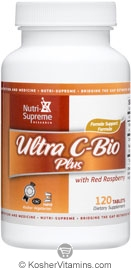 Nutri-Supreme Research Kosher Ultra C-Bio Plus 500 Mg with Red Raspberry (Female Support Formula)  120 Tablets