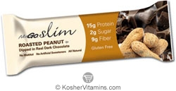 NuGo Nutrition Kosher Slim Protein Bar Roasted Peanut Dairy 12 Bars