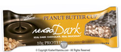 NuGo Nutrition Kosher Dark 10g Protein Bar Peanut Butter Cup Bars Parve 1 Bar