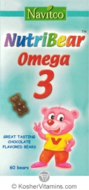 Navitco Kosher NutriBear Omega 3,6,9 Chewable Chocolate Flavor Dairy Cholov Yisroel 60 Bears