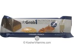 Grab1 Kosher Nutrition Bar 10g Protein Caramel Crunch Dairy Cholov Yisroel 20 Bars