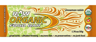 Organic Food Bar Kosher RAW Cinnamon Raisin 12 Bars