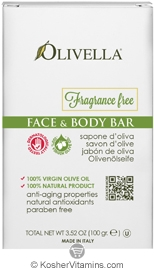 Olivella Kosher Face & Body Bar Soap Fragrance Free 3.52 OZ