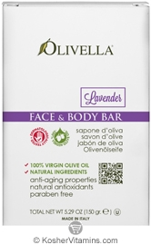 Olivella Kosher Face & Body Bar Soap Lavender 5.29 OZ